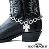 ブーツ ブレスレット ラインストーンクロス・シルバー チェーン/Boot Bracelet