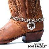 ブーツ ブレスレット ラインストーン テキサススター・シルバー チェーン/Boot Bracelet