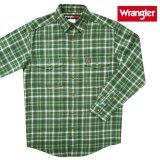 ラングラー フランネル シャツ(オリーブグリーン・長袖)/Wrangler Long Sleeve Flannel Work Shirt(Olive Green)
