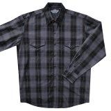 パンハンドルスリム ブルックス&ダン コレクション ウエスタンシャツ・ブラック・グレー(長袖)L(身幅62cm)XL(身幅67cm)/Brooks&Dunn by Panhandle Slim Long Sleeve Western Shirt(Black)