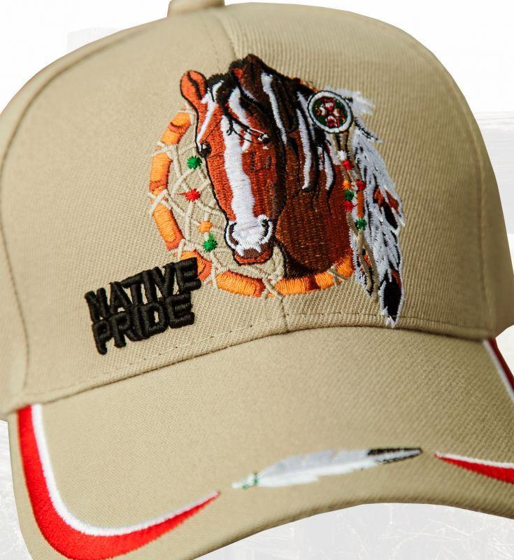 NATIVE PRIDE DREAM CATCHER FEATHER CAP HAT TAN